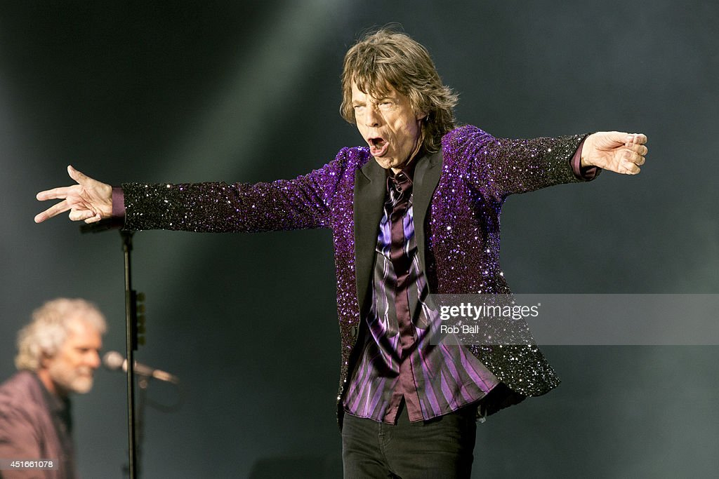 Mick Jagger from the Rolling Stones headlines the Roskilde Festival 2014 on July 3, 2014 in Roskilde, Denmark.