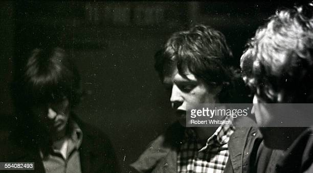 Mick Jagger is pictured with George Harrison and Paul McCartney during the recording of The Beatles annual Christmas message to their fan club at...