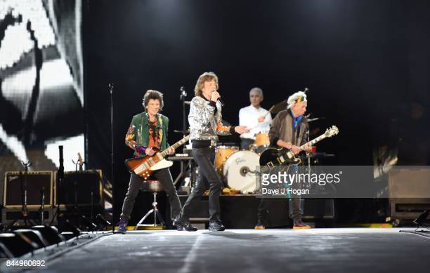 Mick Jagger Keith Richards Charlie Watts and Ronnie Wood of The Rolling Stones perform/s on the opening night of their European 'No Filter' tour on...