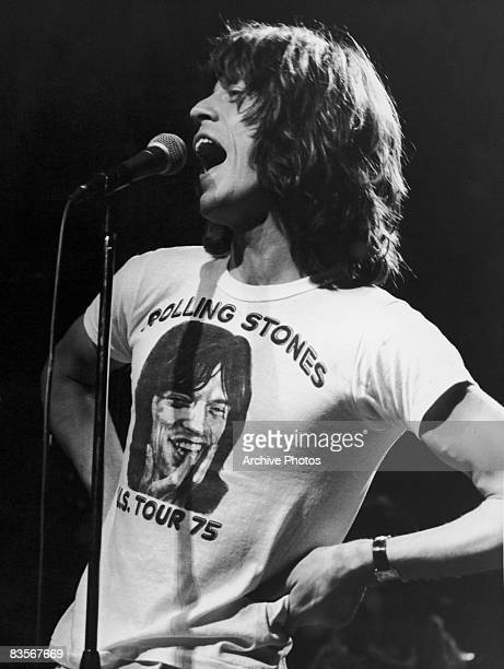 Mick Jagger lead singer for the British rock group The Rolling Stones performs in one of the band's concert Tshirts circa 1975