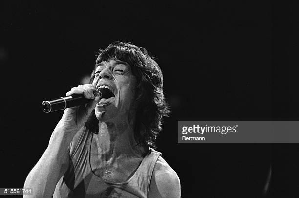 Mick Jagger lead singer for the rock and roll group 'The Rolling Stones' belts out a song during the group's performance at Madison Square Garden...