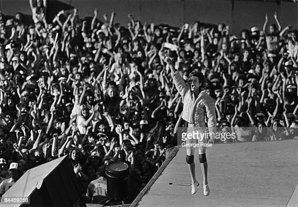 Mick Jagger lead singer of the British rock band The Rolling Stones performs in front of 100000 people during a 1981 Los Angeles California concert...