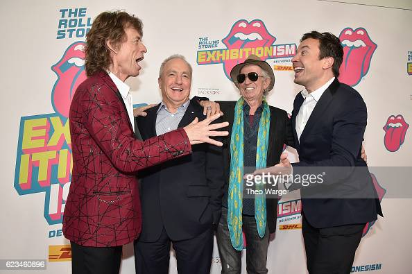 Mick Jagger Lorne Michaels Keith Richards and Jimmy Fallon attend The Rolling Stones celebrate the North American debut of Exhibitionism at Industria...