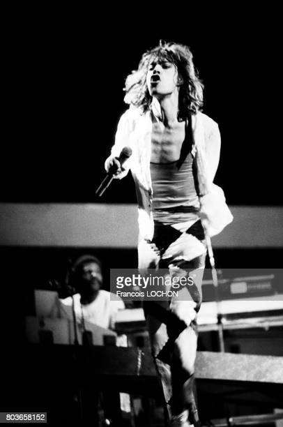 Mick Jagger lors d'un concert des Rolling Stones le 7 juin 1976 à Paris France
