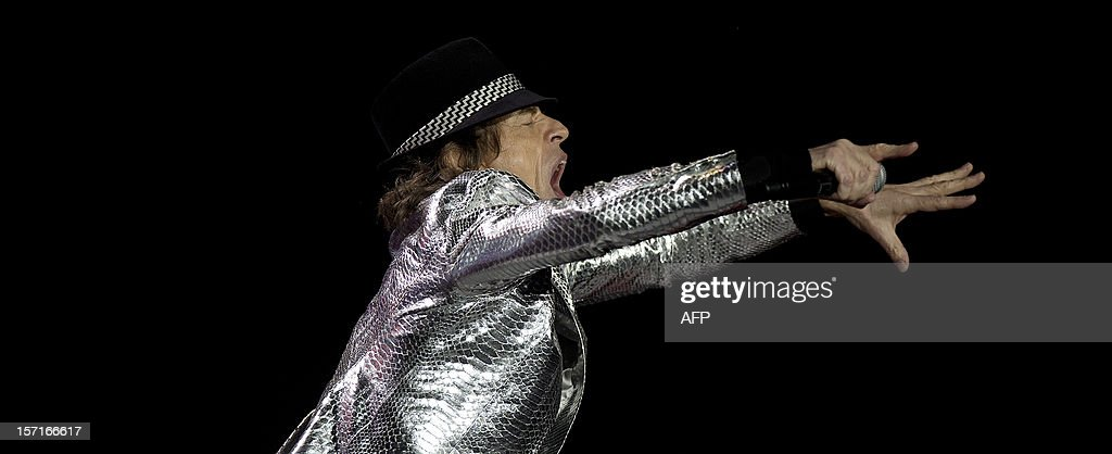 Mick Jagger of British rock band The Rolling Stones performs live in concert in London on November 29, 2012. The concert was part of a five date tour to mark the legendary rock band's 50th anniversary.