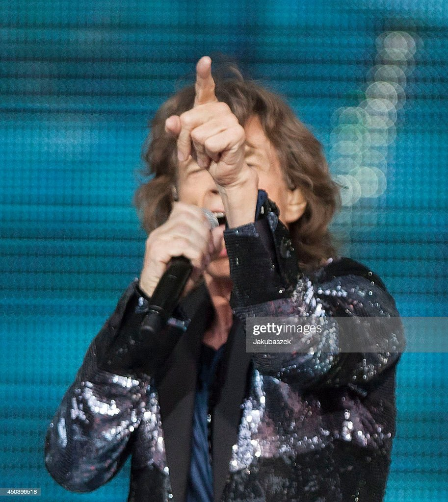 Mick Jagger of the British band The Rolling Stones performs live during a concert at the Waldbuehne on June 10, 2014 in Berlin, Germany.