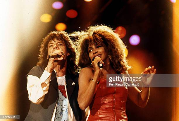 Mick Jagger of the Rolling Stones and Tina Turner are photographed on stage at the Tokyo Dome on March 23 1988 in Tokyo Japan CREDIT MUST READ Ken...