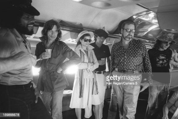 Mick Jagger of the Rolling Stones and wife Bianca Jagger are photographed on the plane in 1975 in Kansas City Kanas CREDIT MUST READ Ken Regan/Camera...