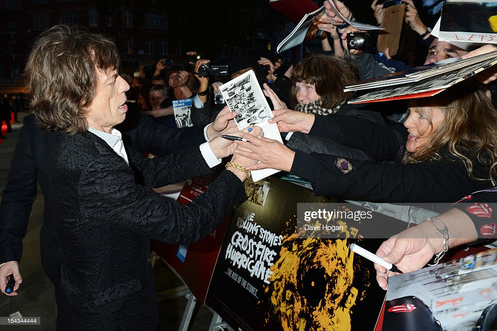 <a gi-track='captionPersonalityLinkClicked' href=/galleries/search?phrase=Mick+Jagger&family=editorial&specificpeople=201786 ng-click='$event.stopPropagation()'>Mick Jagger</a> of The Rolling Stones attends the premiere of 'Crossfire Hurricane' during the 56th BFI London Film Festival at The Odeon Leicester Square on October 18, 2012 in London, England.