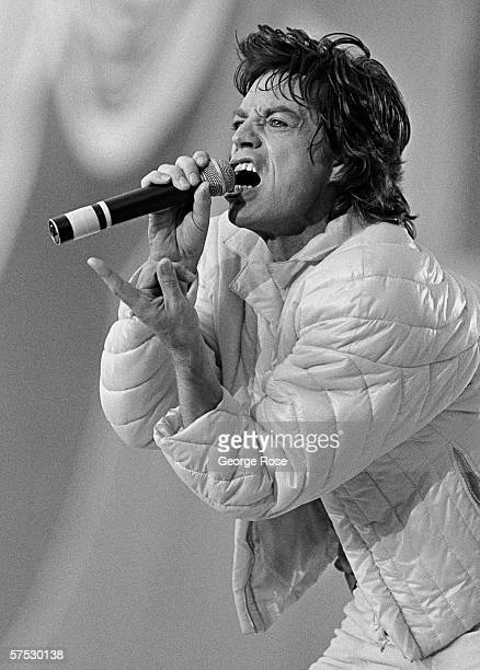 Mick Jagger of The Rolling Stones belts out a song during a 1981 performance before 100000 people at the Coliseum in Los Angeles California
