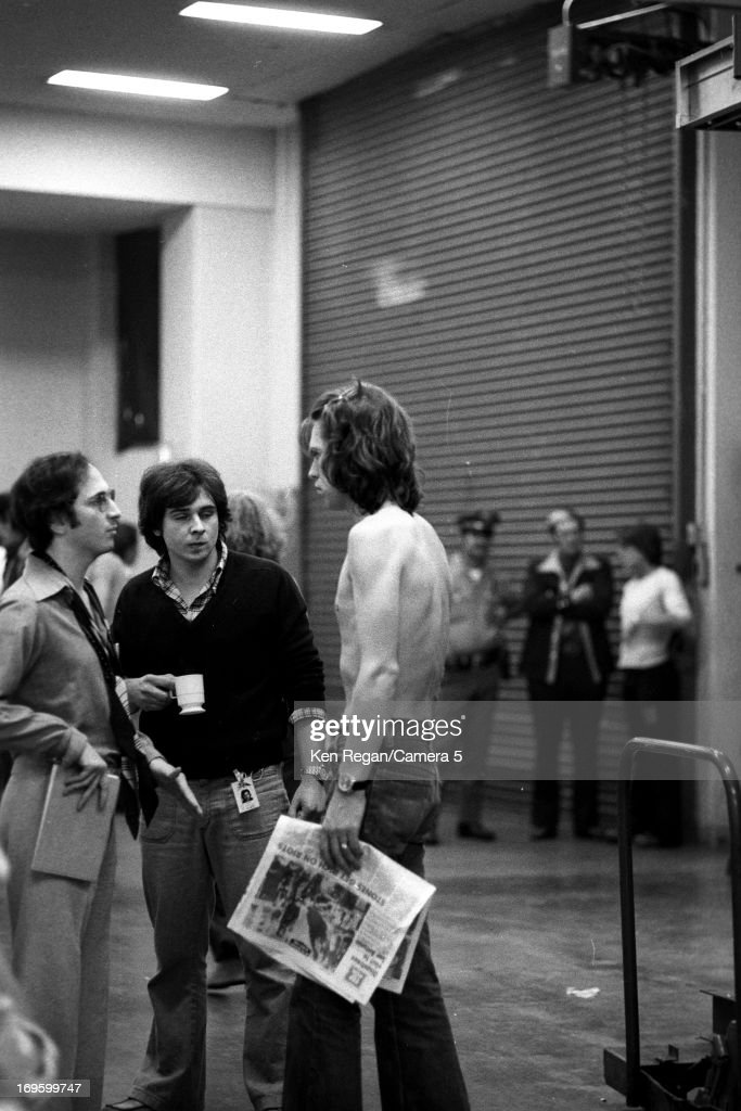 Mick Jagger of the Rolling Stones is photographed backstage in June 1975 in San Antonio, Texas.
