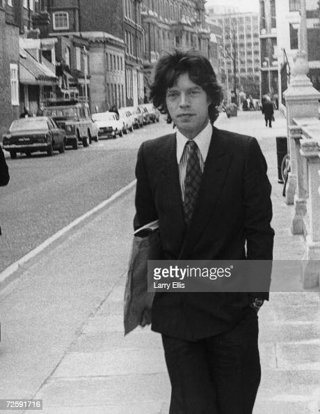 Mick Jagger of the Rolling Stones on his way to attend court in London for his divorce from Bianca Jagger 3rd May 1979