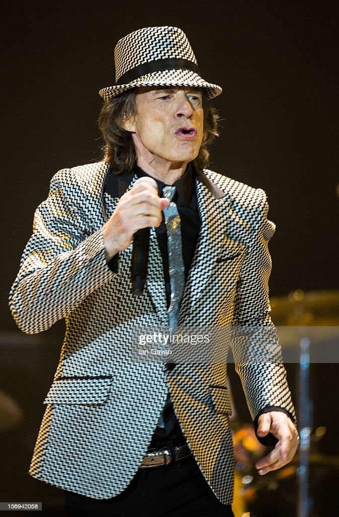Mick Jagger of The Rolling Stones perform live at 02 Arena on November 25, 2012 in London, England.