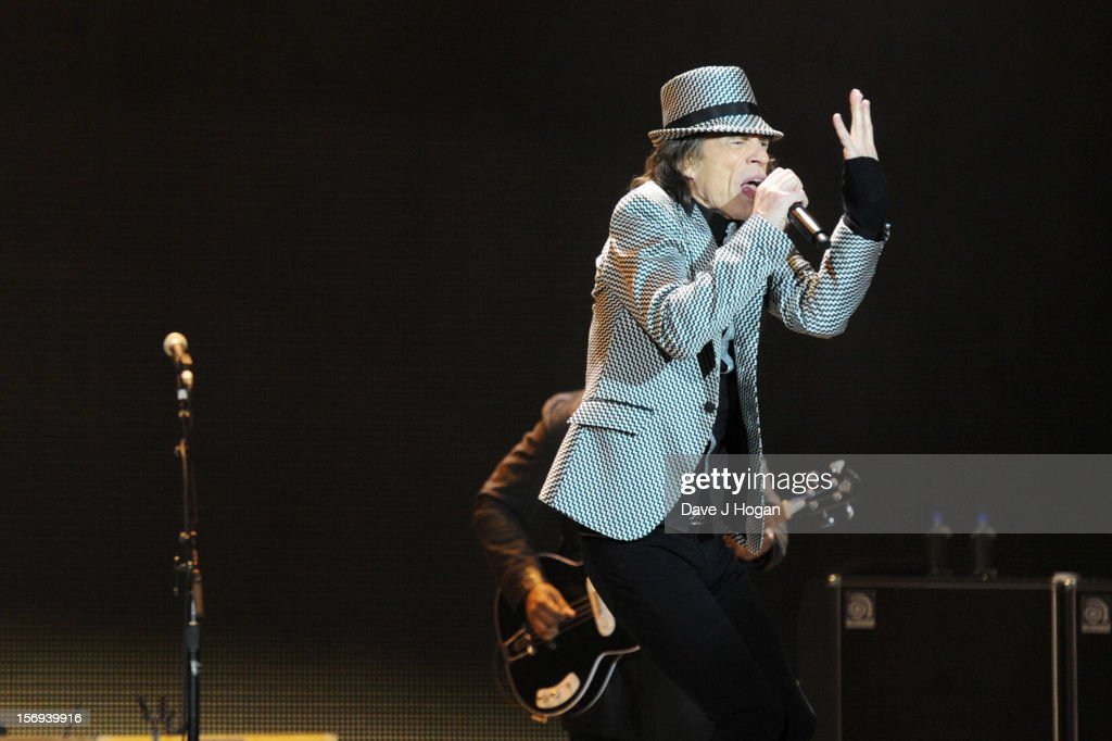 Mick Jagger of the Rolling Stones performs at 02 Arena on November 25, 2012 in London, England.
