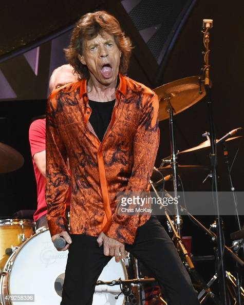 Mick Jagger of The Rolling Stones performs at Carter Finley Stadium on July 1 2015 in Raleigh North Carolina