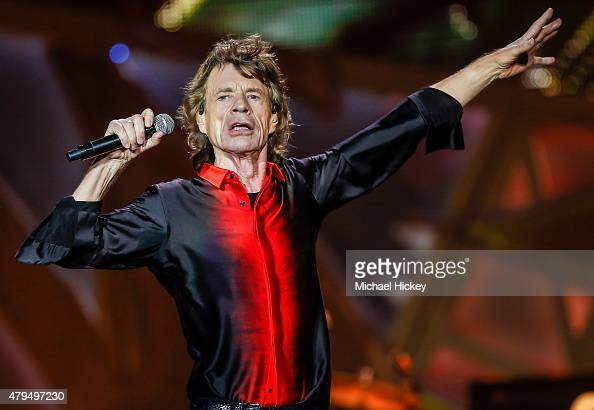 Mick Jagger of the Rolling Stones performs at the Indianapolis Motor Speedway on July 4 2015 in Indianapolis Indiana