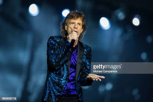 Mick Jagger of the Rolling Stones performs in concert during their No Filter Tour at Friends Arena on October 12 2017 in Stockholm Sweden