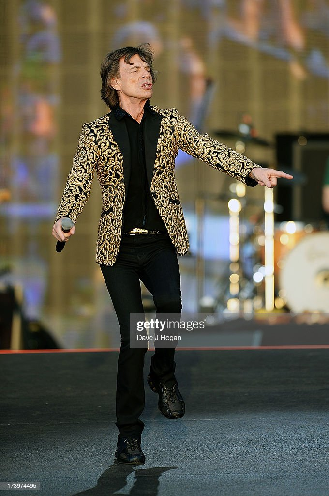 Mick Jagger of The Rolling Stones performs live at Hyde Park on July 13, 2013 in London, England.