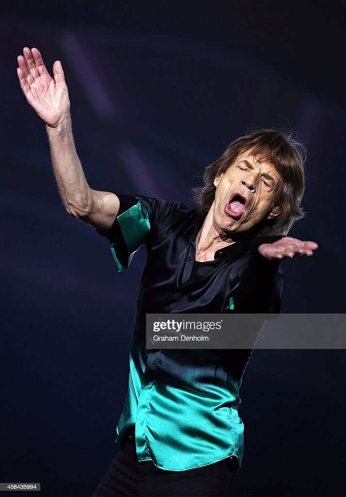 Mick Jagger of The Rolling Stones performs live at Rod Laver Arena on November 5, 2014 in Melbourne, Australia.