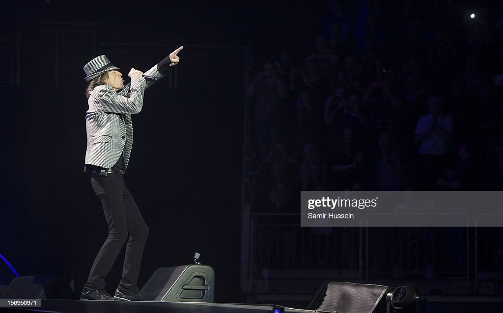 <a gi-track='captionPersonalityLinkClicked' href=/galleries/search?phrase=Mick+Jagger&family=editorial&specificpeople=201786 ng-click='$event.stopPropagation()'>Mick Jagger</a> of The Rolling Stones performs live on stage at the first of their 50th Anniversary concerts at the O2 Arena on November 25, 2012 in London, England.