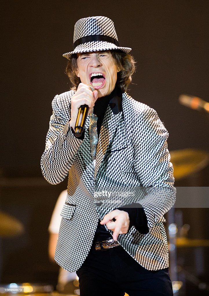 Mick Jagger of The Rolling Stones performs live on stage at the first of their 50th Anniversary concerts at the O2 Arena on November 25, 2012 in London, England.