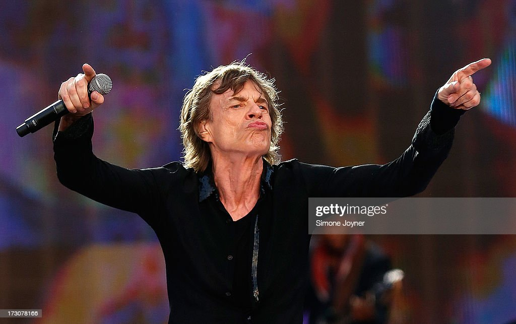 <a gi-track='captionPersonalityLinkClicked' href=/galleries/search?phrase=Mick+Jagger&family=editorial&specificpeople=201786 ng-click='$event.stopPropagation()'>Mick Jagger</a> of The Rolling Stones performs live on stage during day two of British Summer Time Hyde Park presented by Barclaycard at Hyde Park on July 6, 2013 in London, England.