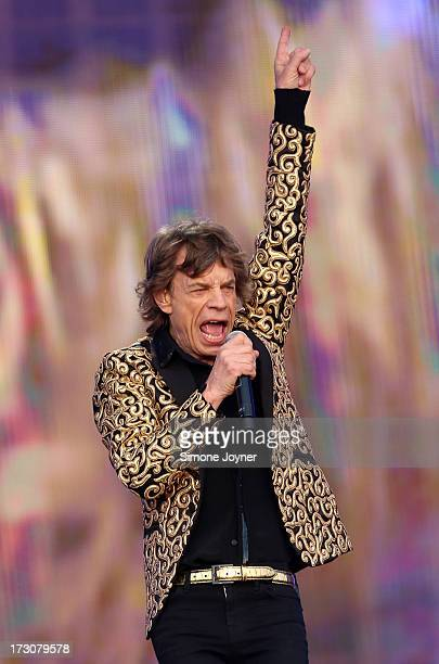 Mick Jagger of The Rolling Stones performs live on stage during day two of British Summer Time Hyde Park presented by Barclaycard at Hyde Park on...