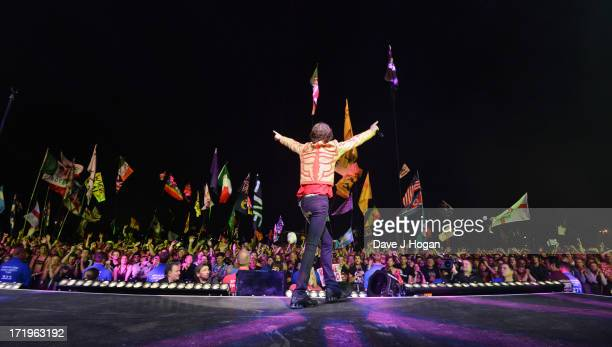 Mick Jagger of The Rolling Stones performs on day 3 of the 2013 Glastonbury Festival at Worthy Farm on June 29 2013 in Glastonbury England