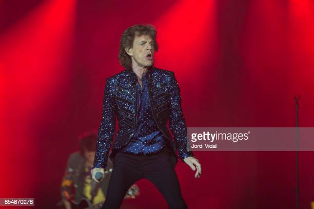 Mick Jagger of The Rolling Stones performs on stage at Estadi Olimpic on September 27 2017 in Barcelona Spain