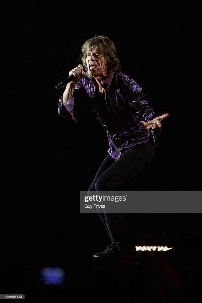 Mick Jagger of The Rolling Stones performs on stage at Park HaYarkon on June 4, 2014 in Tel Aviv, Israel.