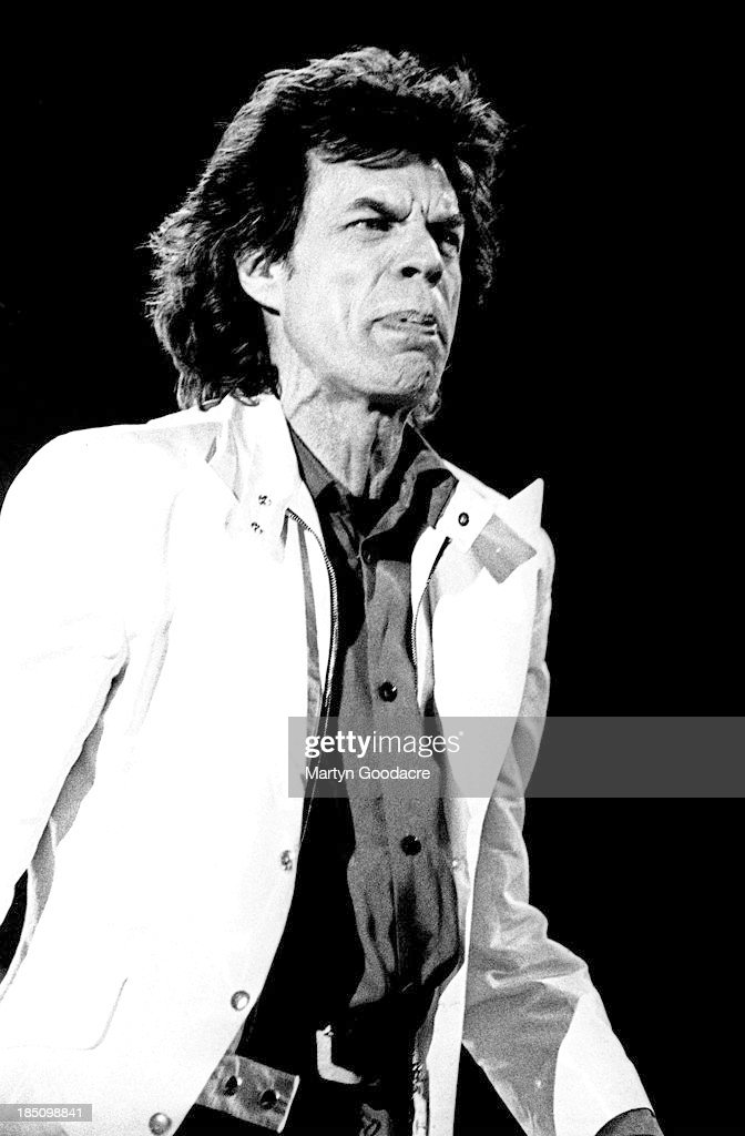 Mick Jagger of the Rolling Stones performs on stage at the Don Valley Arena, Sheffield, United Kingdom, 1995.