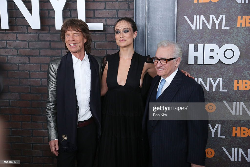 Mick Jagger, Olivia Wilde and Martin Scorcese attend the New York Premiere of 'Vinyl' at Ziegfeld Theatre on January 15, 2016 in New York City.