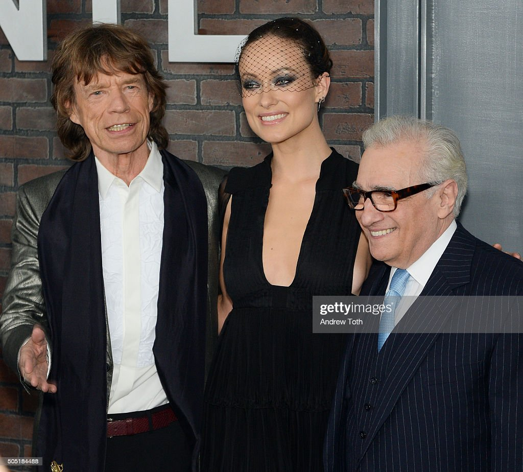Mick Jagger Olivia Wilde and Martin Scorsese attend the 'Vinyl' New York premiere at Ziegfeld Theatre on January 15 2016 in New York City