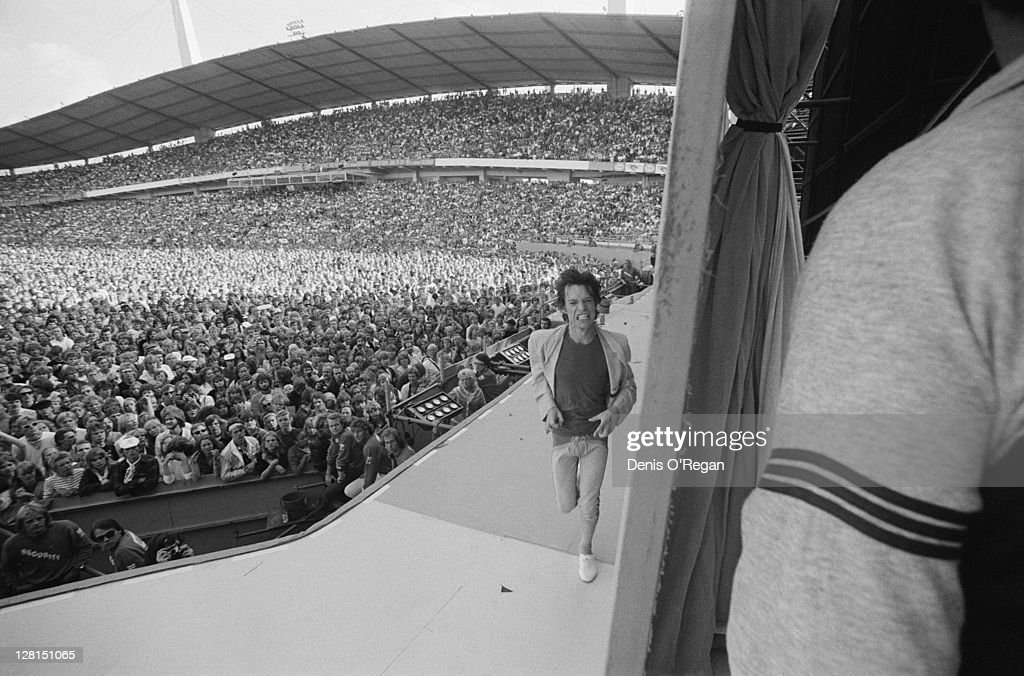 <a gi-track='captionPersonalityLinkClicked' href=/galleries/search?phrase=Mick+Jagger&family=editorial&specificpeople=201786 ng-click='$event.stopPropagation()'>Mick Jagger</a> on stage at a Rolling Stones concert at the Ullevi stadium, Gothenburg, Sweden, June 1982.