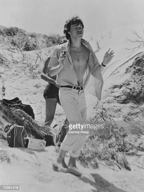 Mick Jagger on the beach in Australia during a Rolling Stones tour