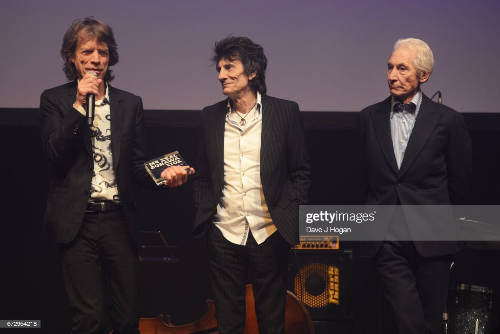 Mick Jagger, Ronnie Wood and Charlie Watts of The Rolling Stones attend the Jazz FM Awards 2017 at Shoreditch Town Hall on April 25, 2017 in London, United Kingdom.