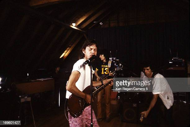Mick Jagger Ronnie Wood and Keith Richards of the Rolling Stones are photographed while recording at Longview Farm in September 1981 in Worcester...