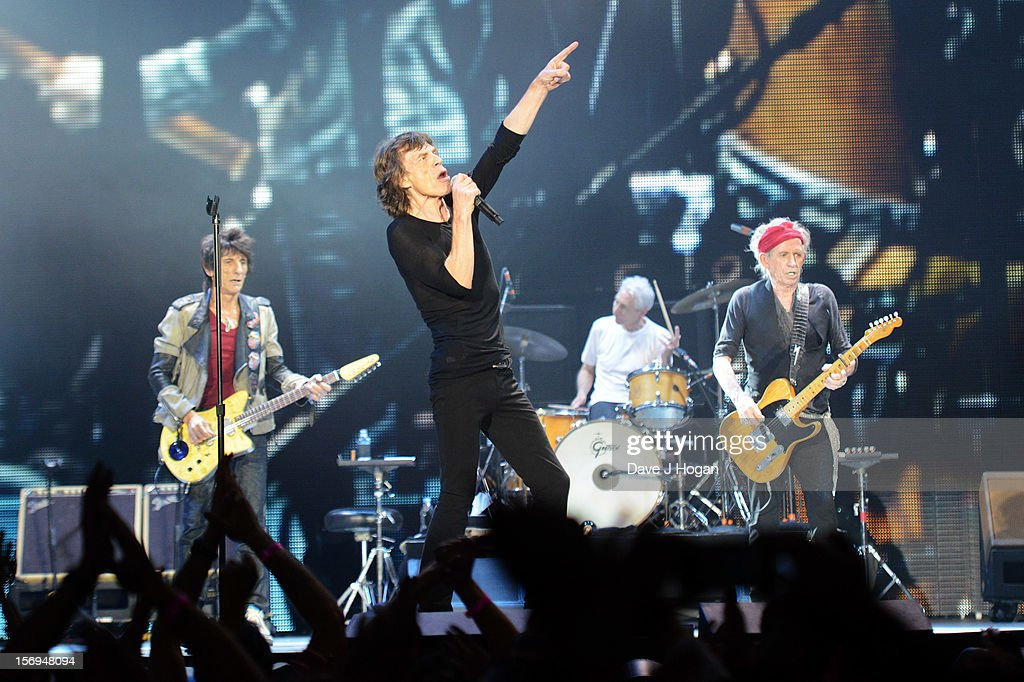 Mick Jagger, Ronnie Wood, Keith Richards and Charlie Watts of the Rolling Stones perform at 02 Arena on November 25, 2012 in London, England.