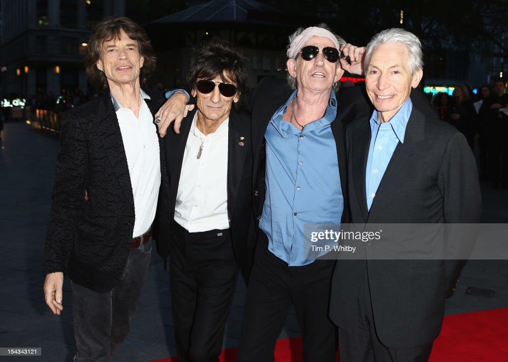 <a gi-track='captionPersonalityLinkClicked' href=/galleries/search?phrase=Mick+Jagger&family=editorial&specificpeople=201786 ng-click='$event.stopPropagation()'>Mick Jagger</a>, Ronnie Wood, <a gi-track='captionPersonalityLinkClicked' href=/galleries/search?phrase=Keith+Richards+-+Musician&family=editorial&specificpeople=202882 ng-click='$event.stopPropagation()'>Keith Richards</a> and Charlie Watts of the Rolling Stones attend the Premiere of 'Crossfire Hurricane' during the 56th BFI London Film Festival at Odeon Leicester Square on October 18, 2012 in London, England.