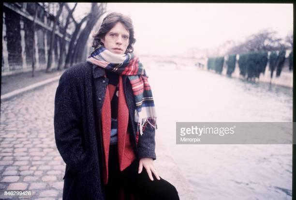 Mick Jagger Singer in Paris Wearing a tartan scarf January 1985