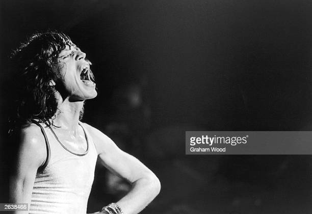Mick Jagger singer of the British rock group The Rolling Stones performing at the Glasgow Apollo