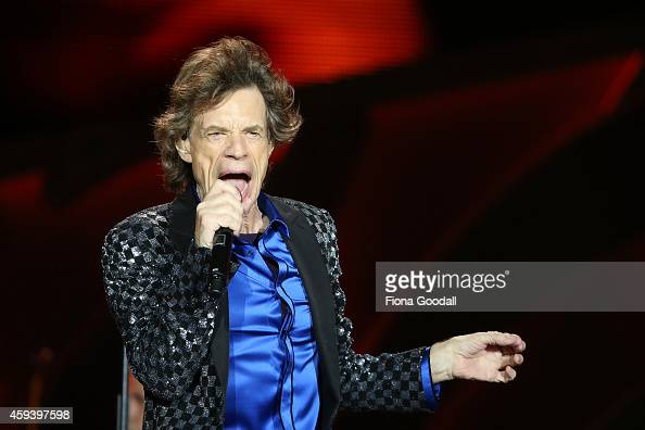 Mick Jagger sings as The Rolling Stones perform live at Mt Smart Stadium on November 22 2014 in Auckland New Zealand