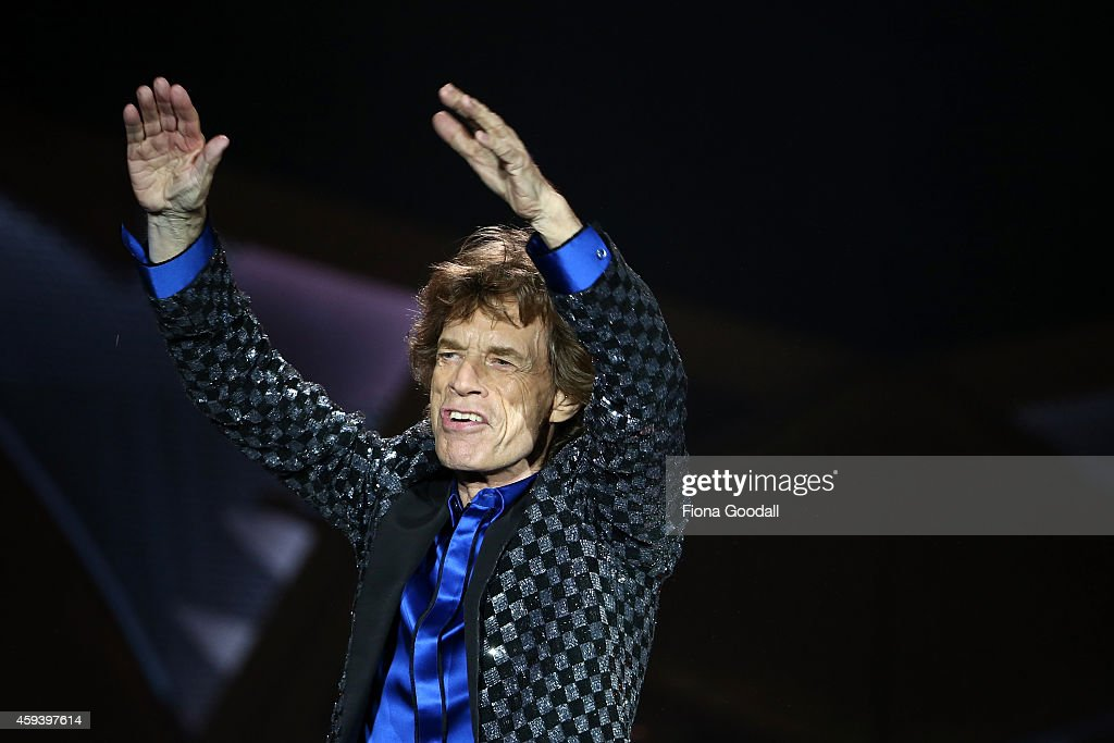 Mick Jagger sings as The Rolling Stones perform live at Mt Smart Stadium on November 22, 2014 in Auckland, New Zealand.