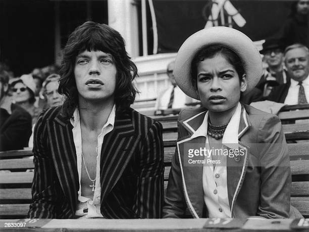 Mick Jagger the lead singer of 'The Rolling Stones' and his wife Bianca Jagger watching the final cricket test between England and Australia at the...