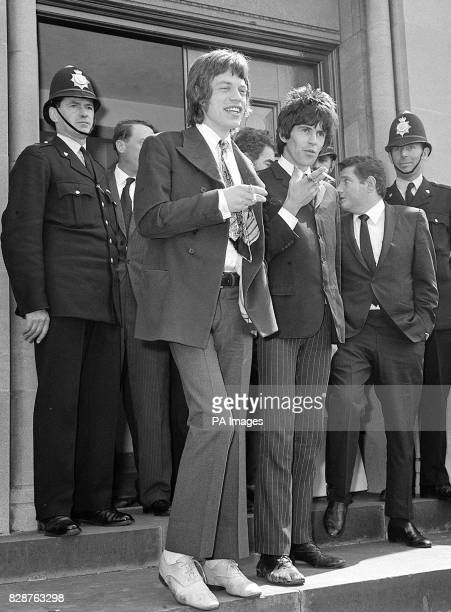 Mick Jagger the Rolling Stones lead singer and Keith Richards the group's lead guitarist pictured in Chichester Sussex where they appeared with...