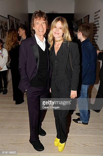 Mick Jagger with daughter Georgia May Jagger during an after party for 'The Rolling Stones Exhibitionism' at Saatchi Gallery on April 4 2016 in...
