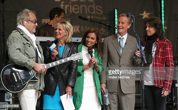 Mick Jones and Kelly Hansen of Foreigner with Hosts Gretchen Carlson Steve Doocy and Brian Kilmeade at 'FOX Friends' All American Concert Series...