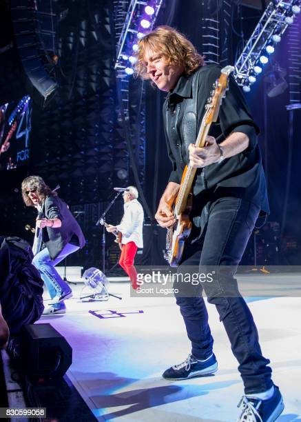 Mick Jones and Kelly Hansen of the band Foreigner perform during their 40th Anniversary Tour at DTE Energy Music Theater on August 11 2017 in...