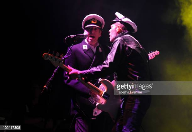 Mick Jones and Paul Simonon of Gorillaz headline the Pyramid stage on the second day of Glastonbury Festival at Worthy Farm on June 25 2010 in...