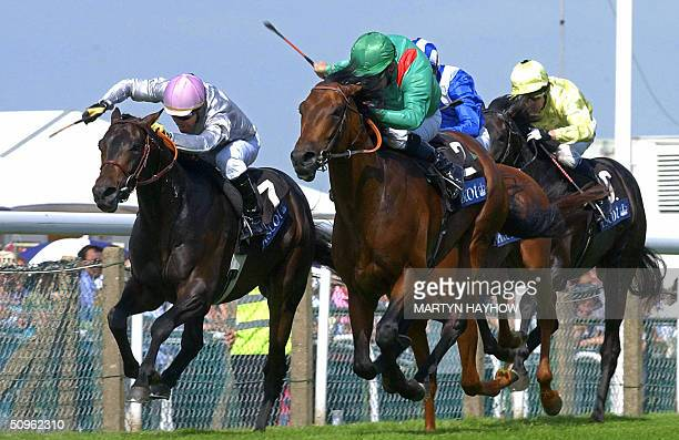 Mick Kinane on Azamour rides the HH Aga Khan owned horse to win the St James Palace Stakes from Diamond Green ridden by Gary Stevens owned by the...